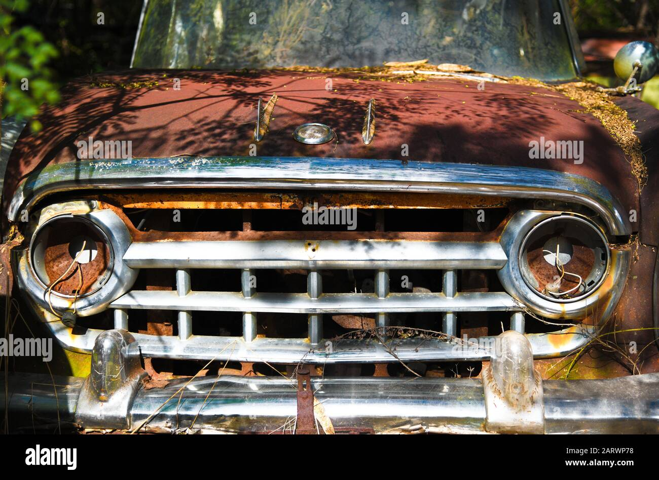 Close-up Image of the Front of an Old Scrap Truck in a Junk Yard Stock Photo