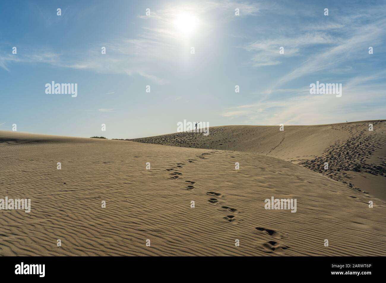 Beautiful shot of a sandy beach in bolonia spain under the heat of the sun Stock Photo