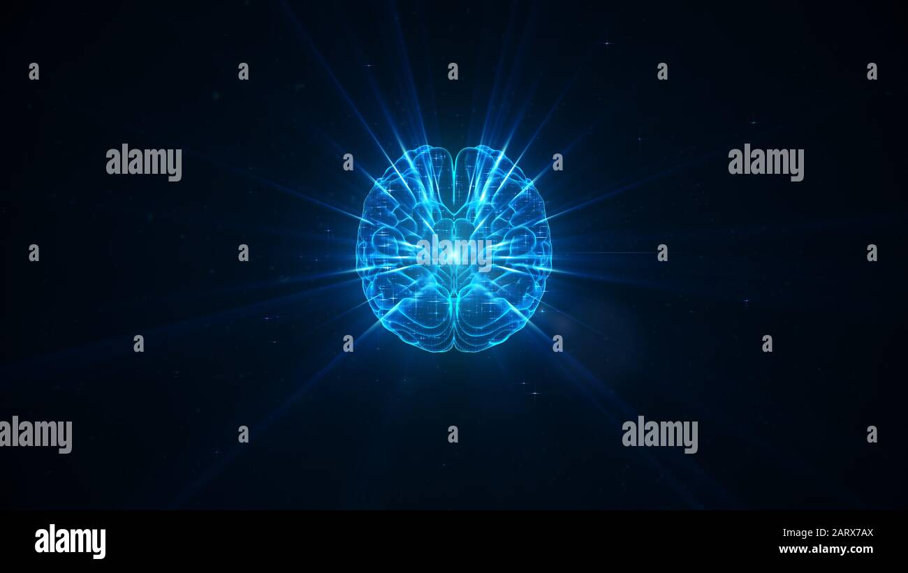 Digital brain illustration with futuristic background; concept of artificial intelligence singularity, machine learning, ai, deep learning blockchain Stock Photo