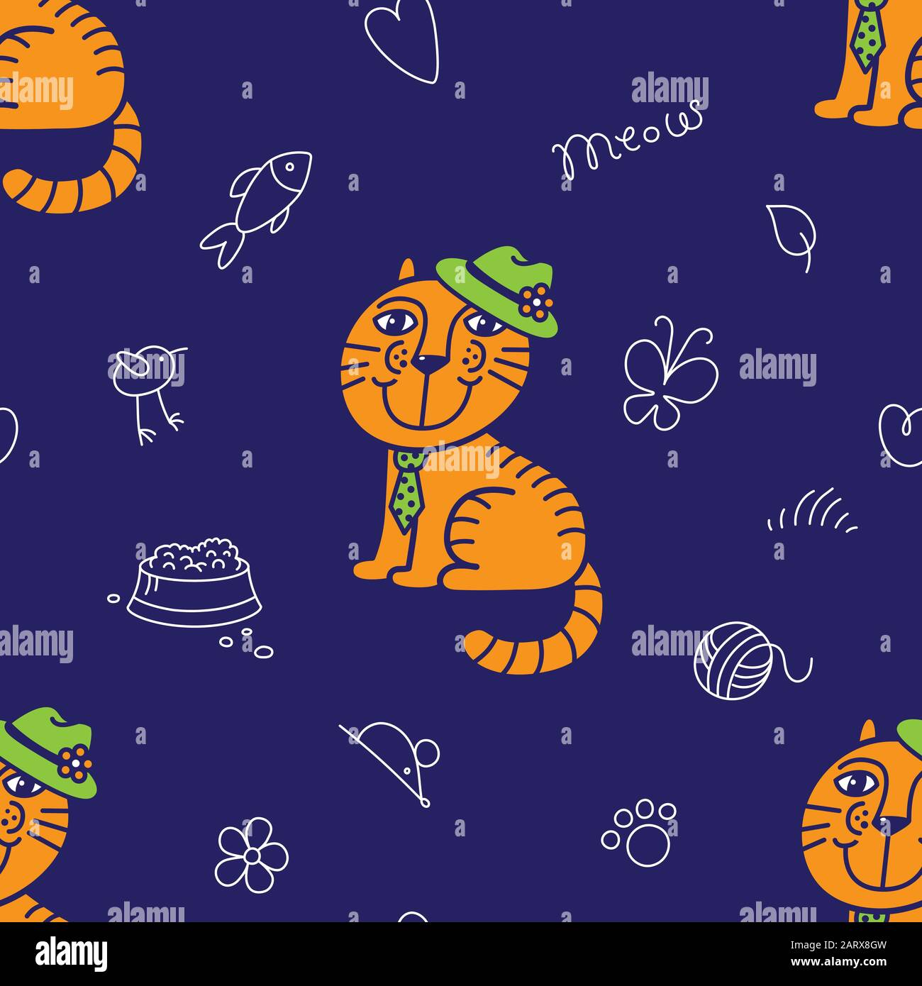 Seamless Pattern For Textile Mr Ginger Cat In The Green Hat And