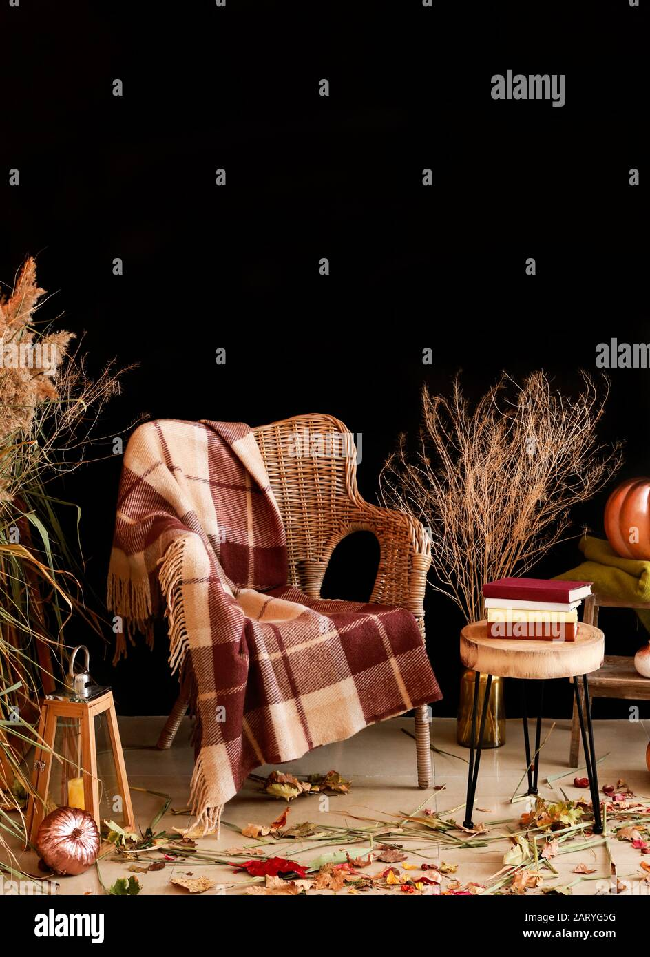 Beautiful Autumn Composition With Wicker Armchair Near Dark Wall
