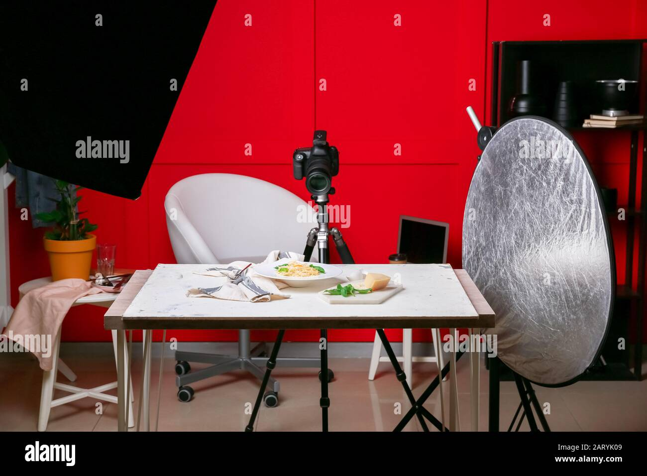 Interior Of Modern Photo Studio With Professional Equipment And Food On Table Stock Photo Alamy