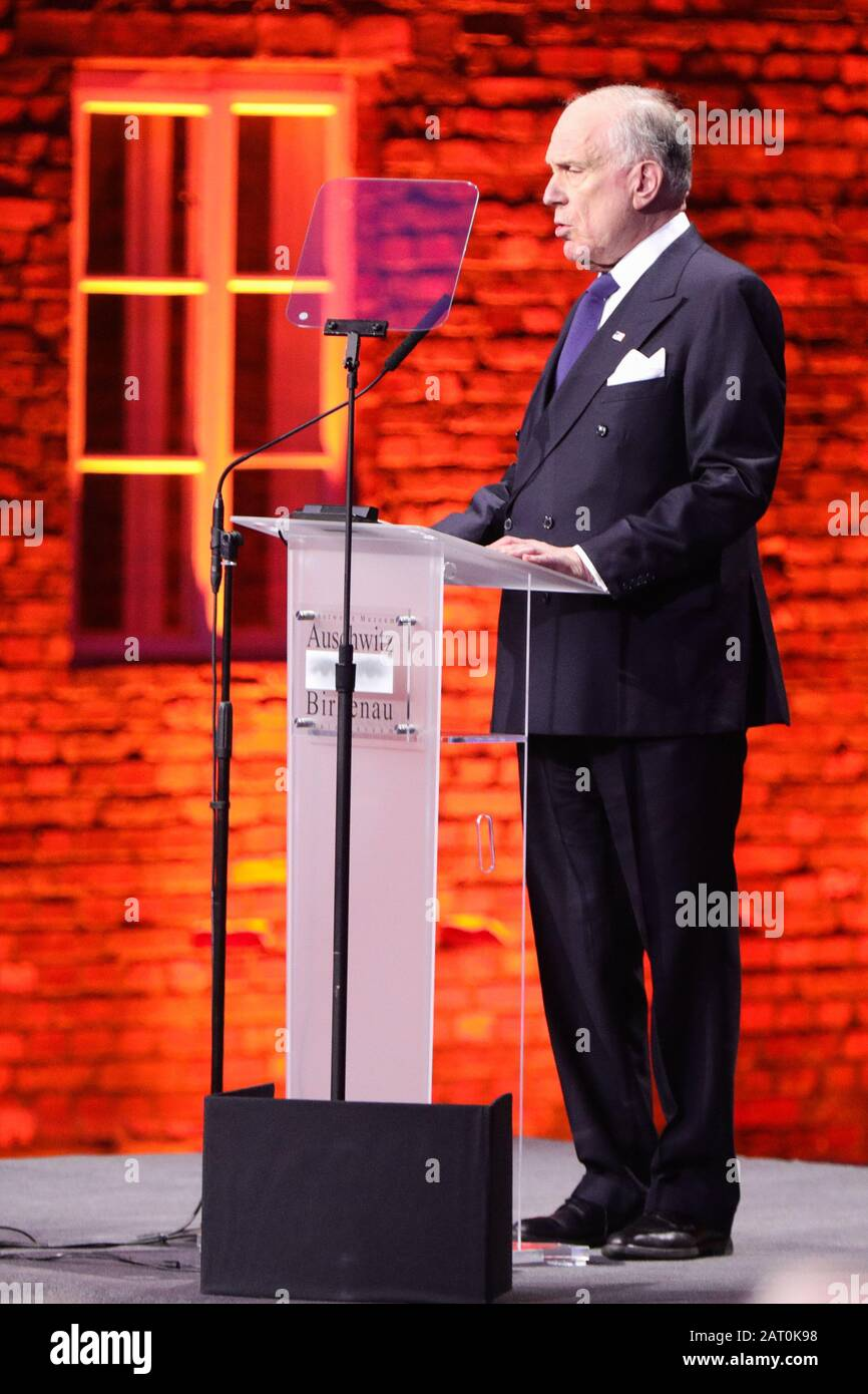 Oswiecim, Poland. 27th Jan, 2020. Ronald Lauder, President of the World Jewish Congress speaks during the ceremony.75th anniversary of the liberation of former Nazi German concentration camp Auschwitz-Birkenau. During World War II occupation of Poland by Nazi Germany the Nazis killed over one million people at the camp. KL Auschwitz-Birkenau was liberated on 27 January 1945. International leaders and around 200 survivors with their families gather every year to pay tribute to the victims of Auschwitz. Credit: Filip Radwanski/SOPA Images/ZUMA Wire/Alamy Live News Stock Photo