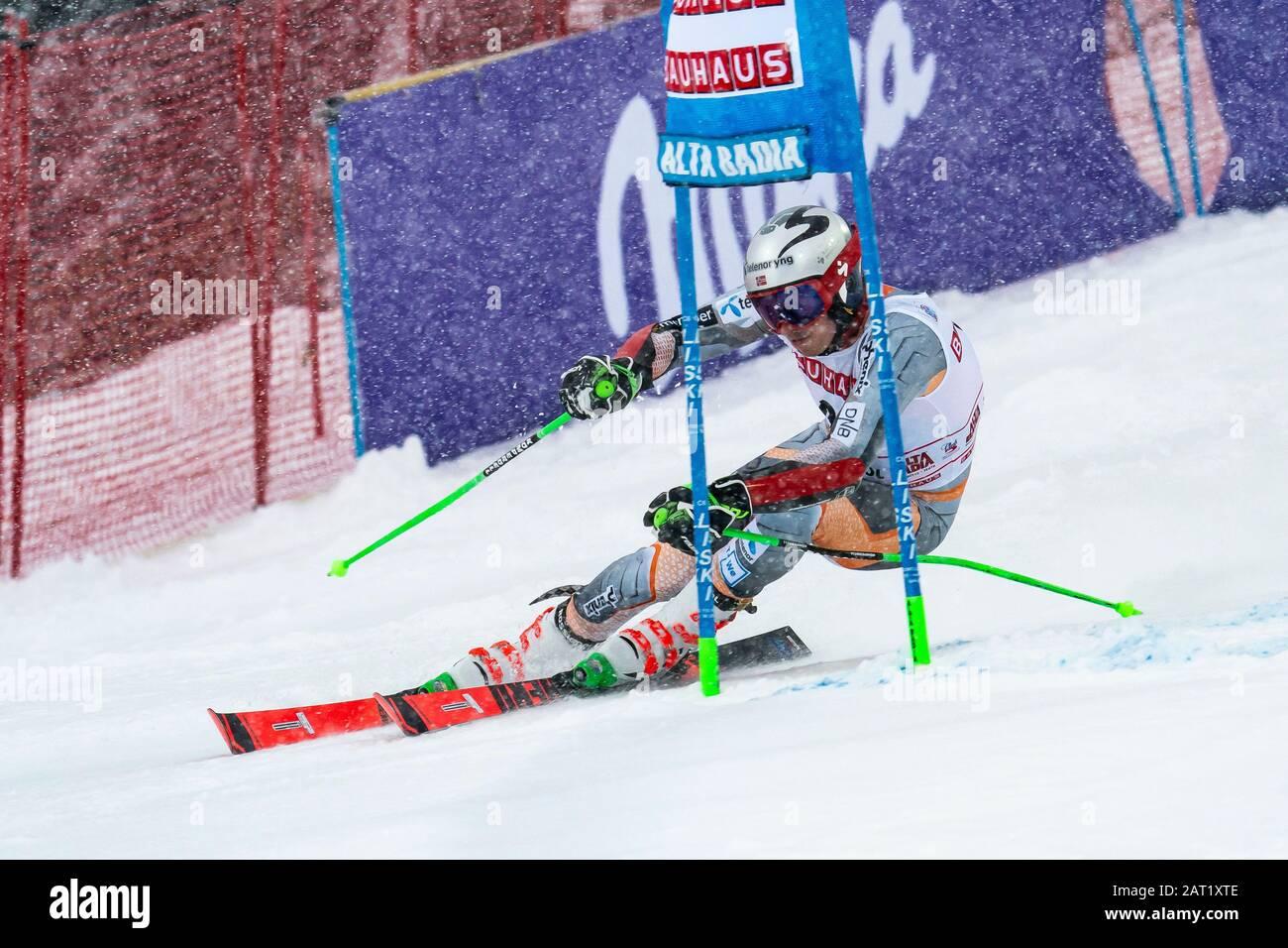 Alta Badia, Italy 22 December 2019.  KRISTOFFERSEN Henrik (Nor) competing in the Audi Fis Alpine Skiing World Cup Men's Giant Slalom on the Gran Risa Stock Photo