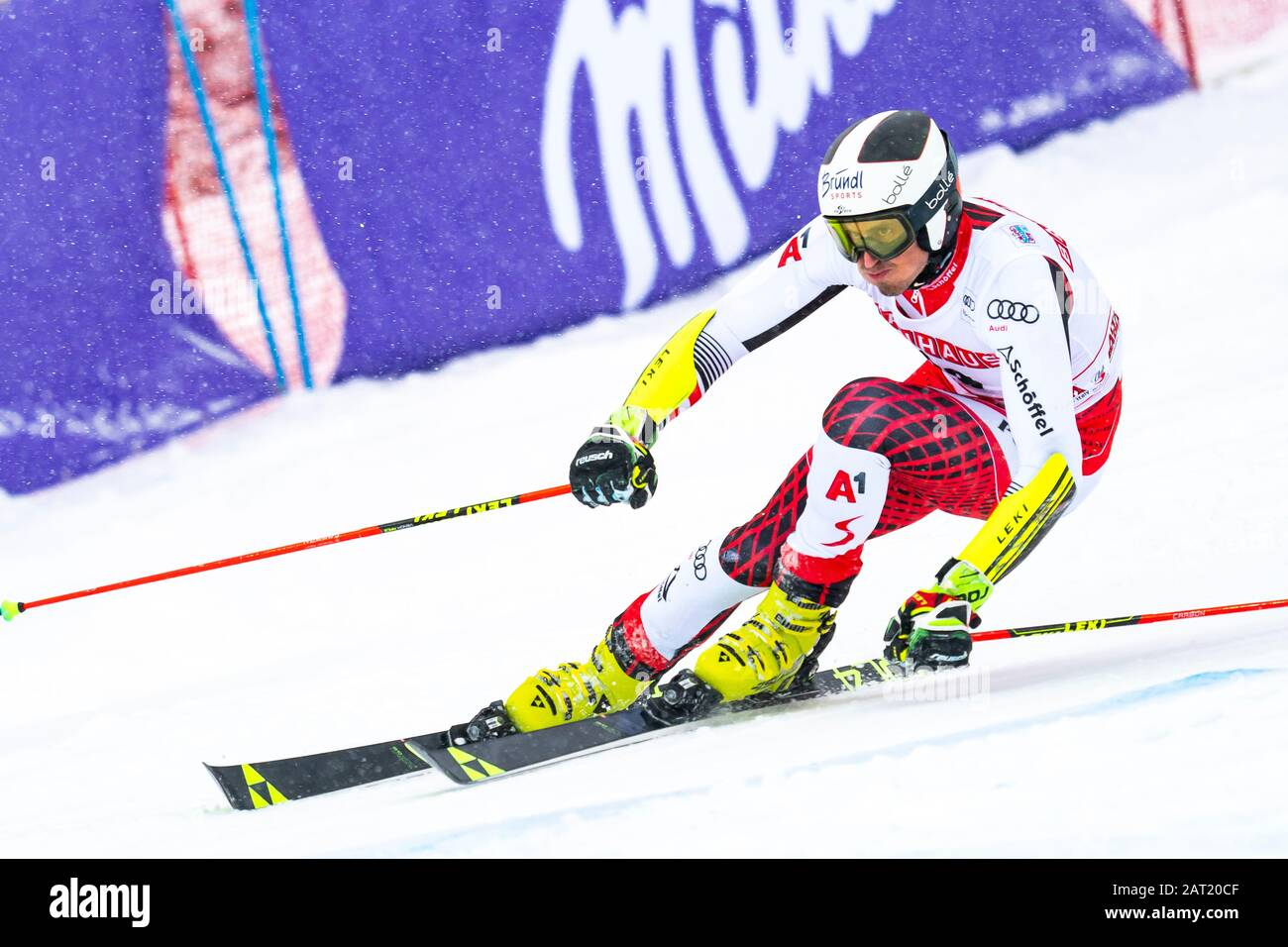 Alta Badia, Italy 22 December 2019.  BRENNSTEINER Stefan (Aut) competing in the Audi Fis Alpine Skiing World Cup Men's Giant Slalom on the Gran Risa C Stock Photo