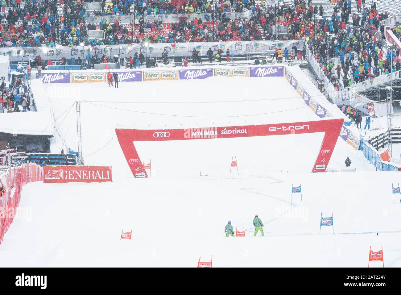 Alta Badia, Italy 22 December 2019: A general view during the Men's World cup Giant Slalom Race on the Gran Risa Course in the dolomite mountain range Stock Photo