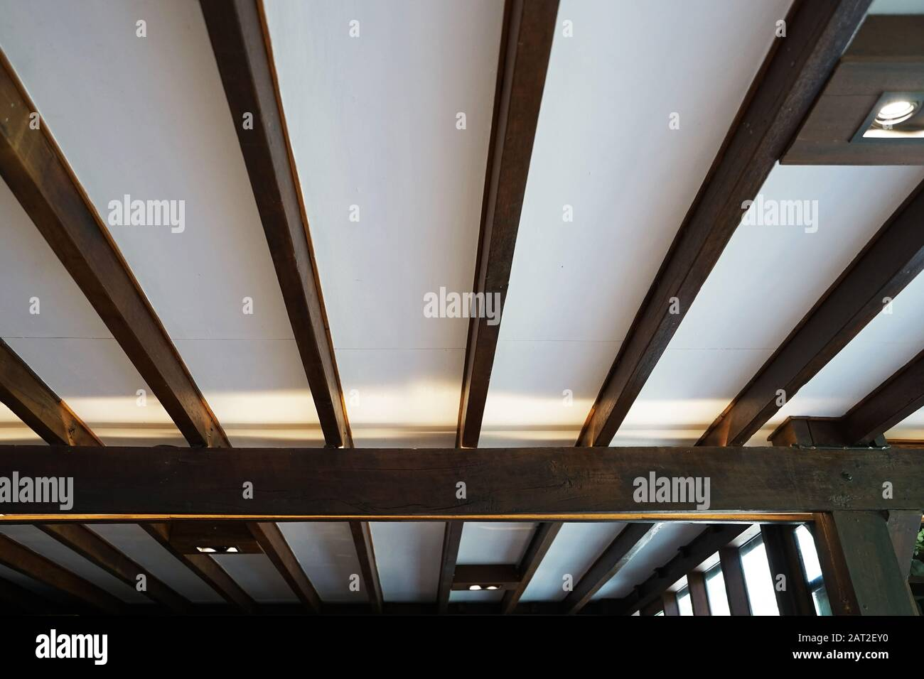 Image of: Interior Lighting Design And Ceiling Decoration Decorated With Wooden Panels And Window Frame Stock Photo Alamy
