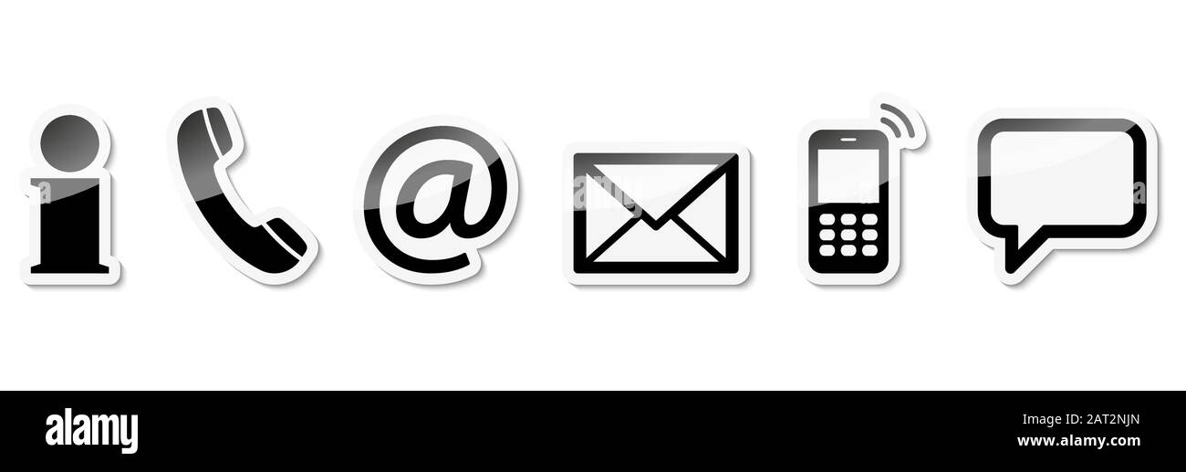 Contact Us, set of six black colored icons with white frame and shadow Stock Vector