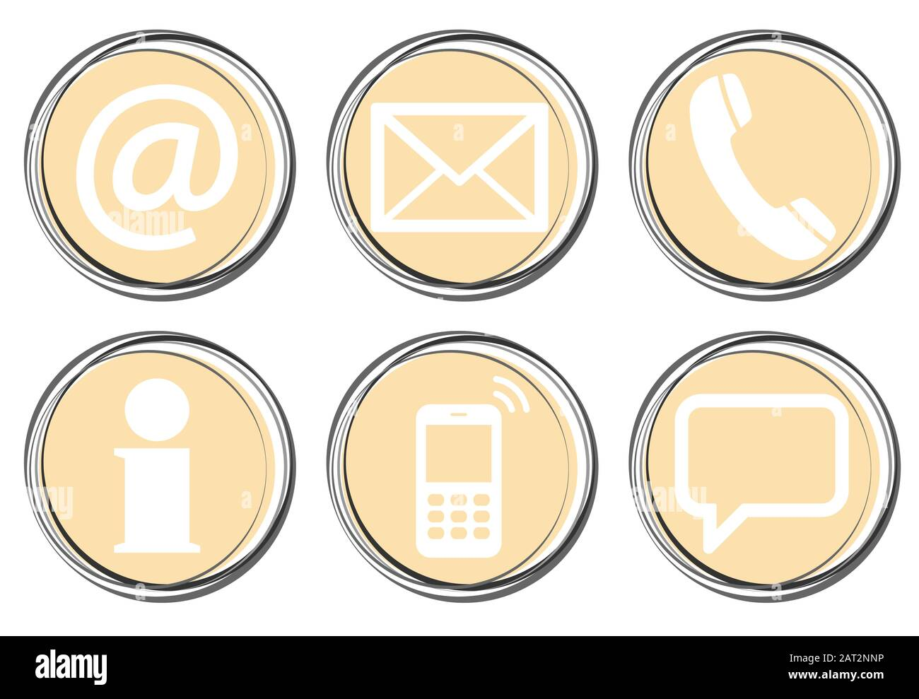 Contact Us, set of six white icons in round colored buttons Stock Vector
