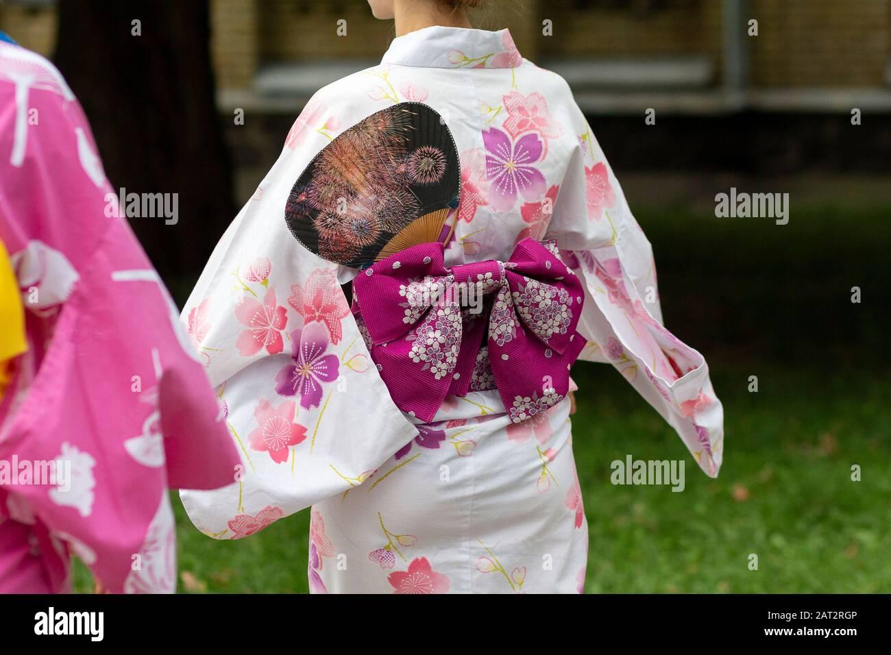 Japanese Kimono Yukata in Beautiful Flowers Motive