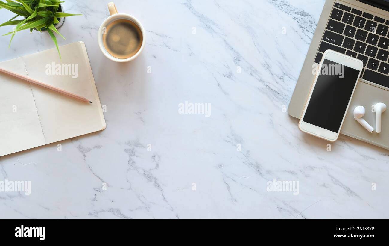 Marble Office Desk With Laptop Black Blank Screen Smartphone Wireless Earphone Pencil Notes And Potted Plant Putting Flat Lay Working Equipment C Stock Photo Alamy