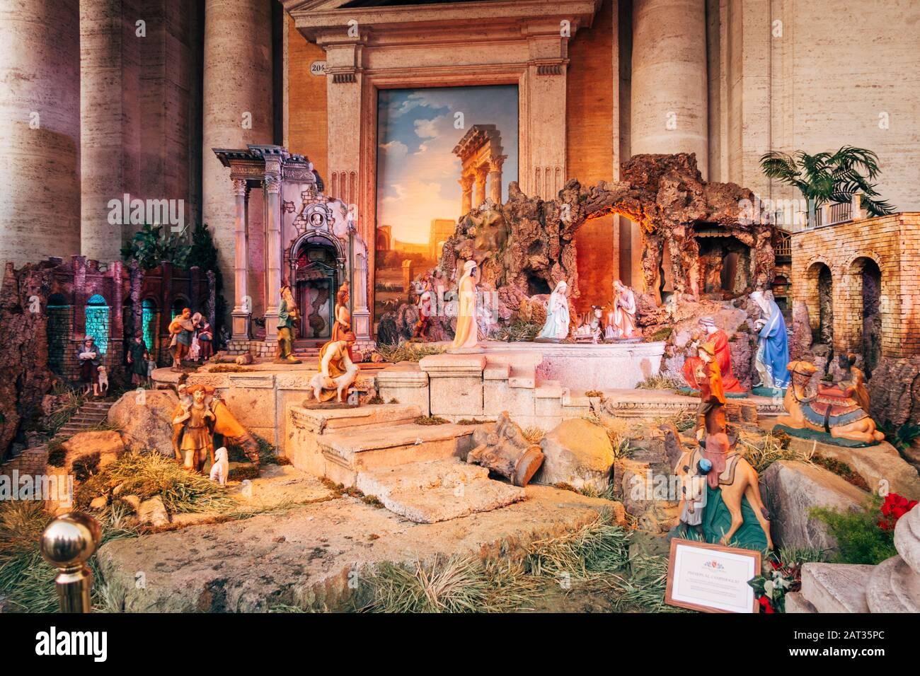 Nativity Christmas 2020 Rome, Italy   Jan 1, 2020: Christmas Nativity scene at the Palazzo