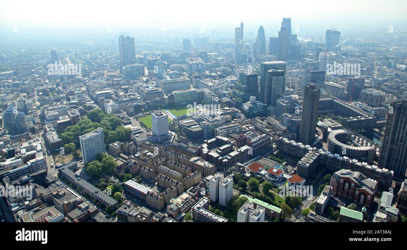 aerial view of the London City skyline from the Barbican / Clerkenwell area in London EC1Y Stock Photo