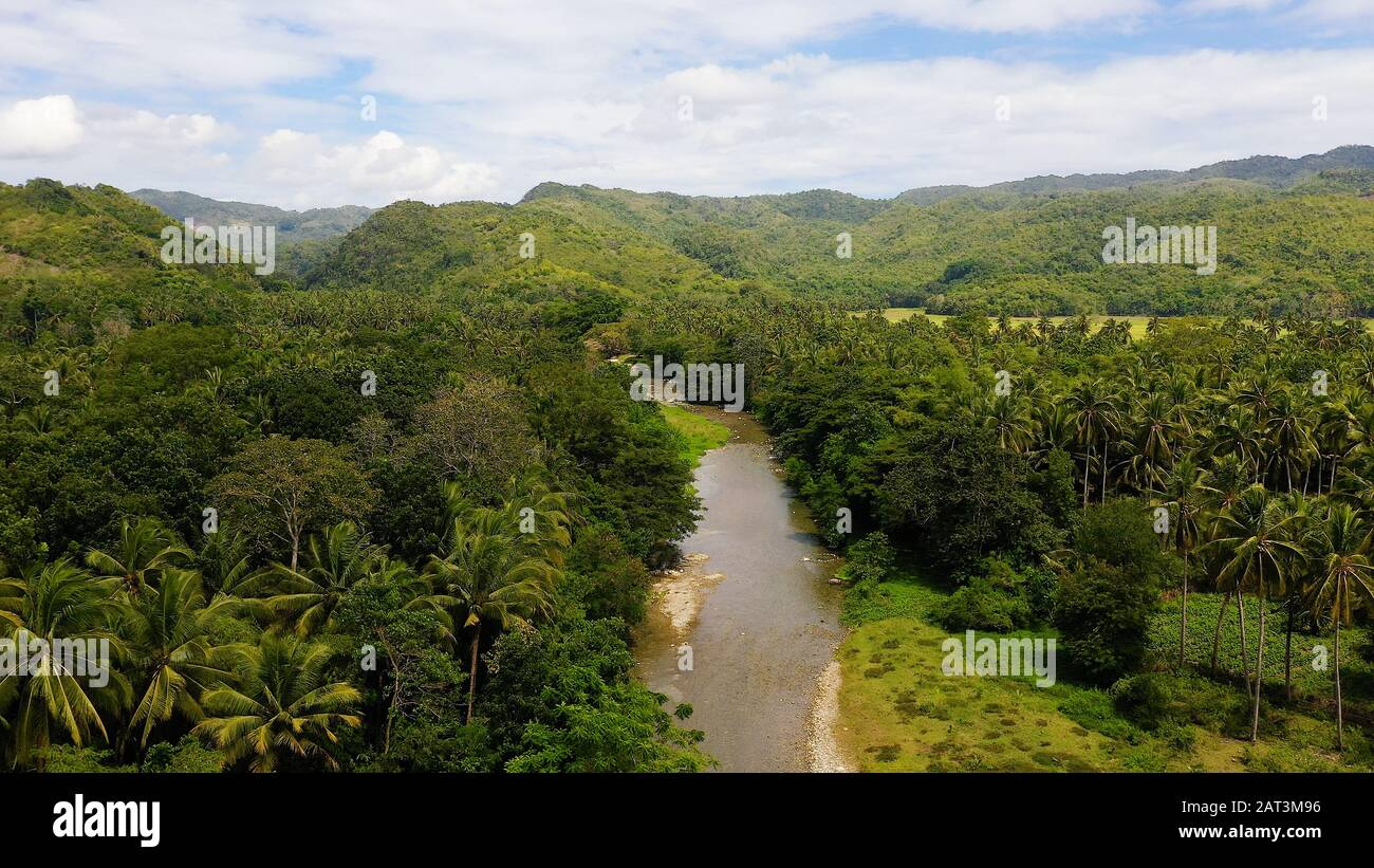 Mountain river on a tropical island, top view. Mountains and hills are covered with evergreen forest. Beautiful landscape in the Philippines. A river in the mountains on Leyte Island, Stock Photo