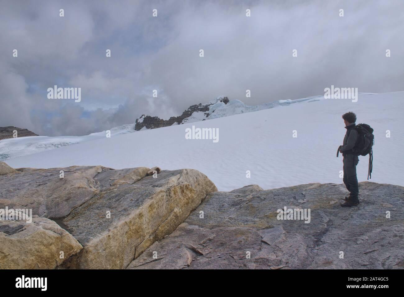 Standing above the Ritacuba Glacier, El Cocuy National Park, Boyaca, Colombia Stock Photo