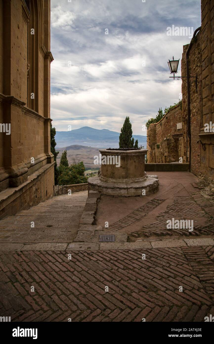 View of the historic well in Pienza. Stock Photo