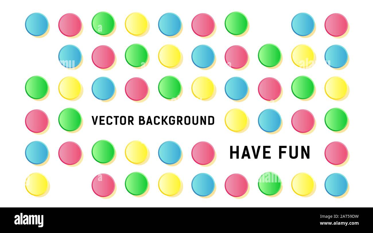 Colored volume circles dot pattern fun mood vector background template Stock Vector