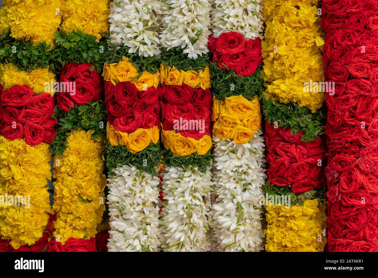 close-up of garlands for temple offering at Little India Stock Photo - Alamy