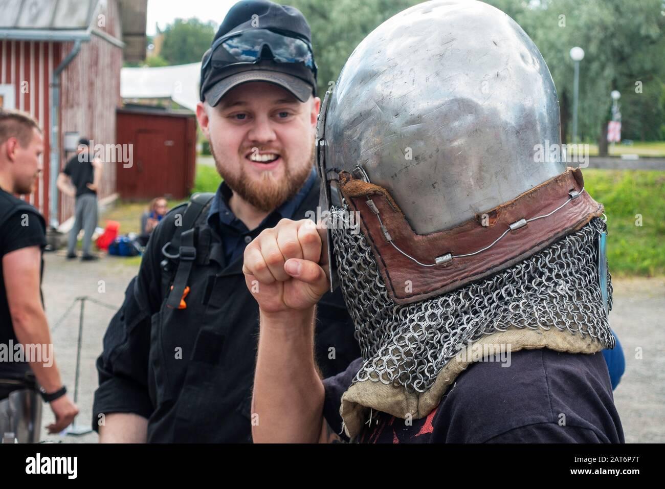 Medieval Combat Sport Event in Hämeenlinna Finland Stock Photo