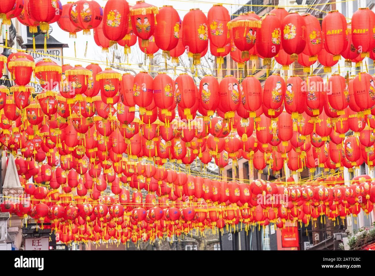 London January 26 2020 Chinese Paper Lanterns London Chinatown Chinese New Year Celebrations Stock Photo Alamy