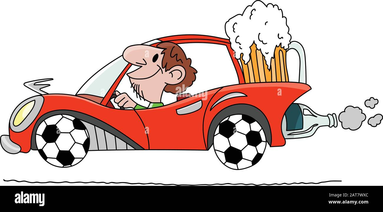 Cartoon Man Driving A Car With Wheels Made Of Soccer Balls And Carrying A Big Glass Of Beer Behind Vector Illustration Stock Vector Image Art Alamy