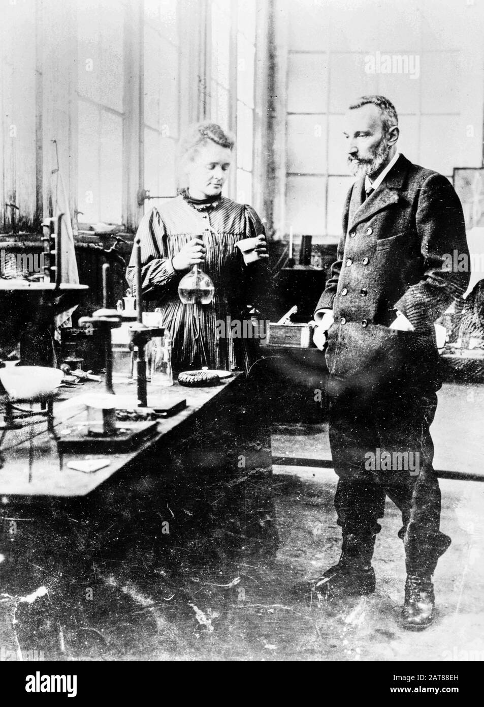 Pierre and Marie Curie in their laboratory, photograph circa 1900 Stock Photo