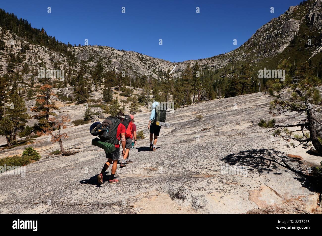 Pyramid Peak Trail Glacial valley Eldorado National Forest California Stock Photo