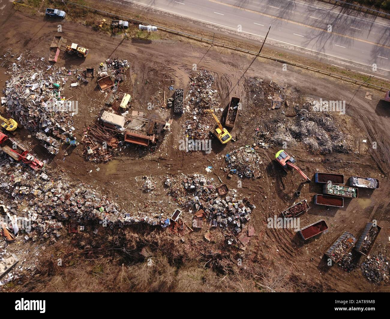 Drone aerial Metal scrapyard recycling Cincinnati Ohio USA Stock Photo