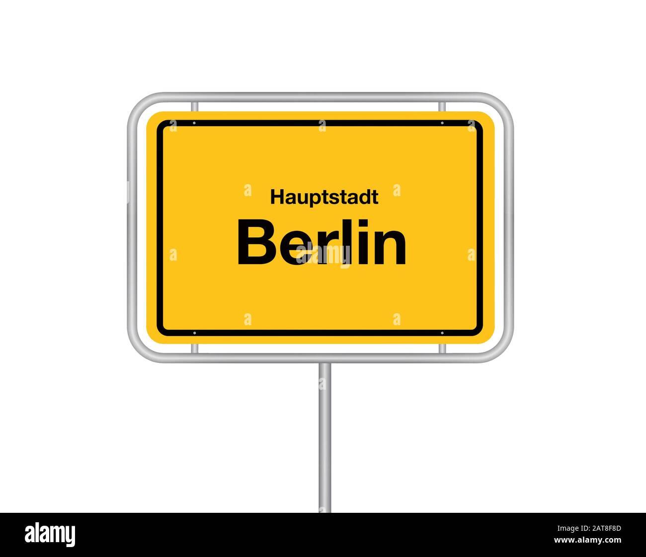 city sign Hauptstadt Berlin, cutout, Germany, Berlin Stock Photo