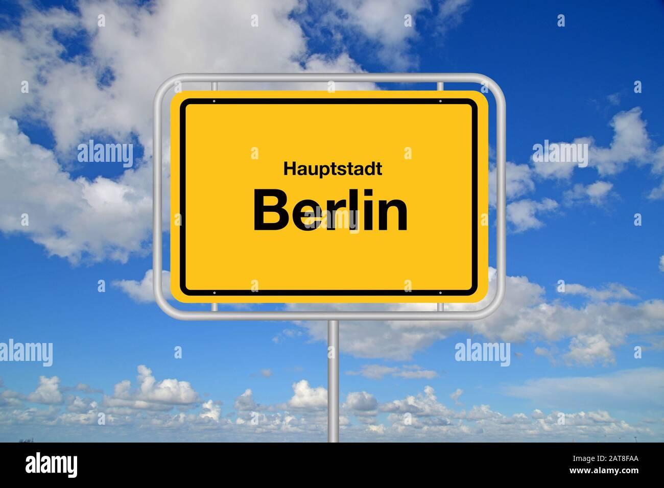 city sign Hauptstadt Berlin, capital Berlin against blue cloudy sky, Germany, Berlin Stock Photo