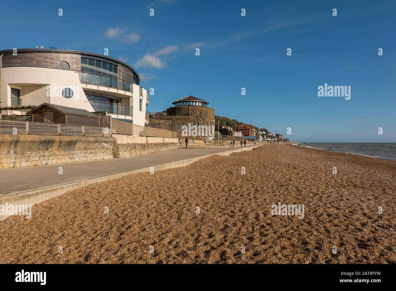 Designer,Home,and,Sandgate Castle,Promanade,Sandgate,Seafront,Sandgate,Folkestone,Kent,England,Cycle and Walking Route,Hythe to Folkestone Section,Sax Stock Photo