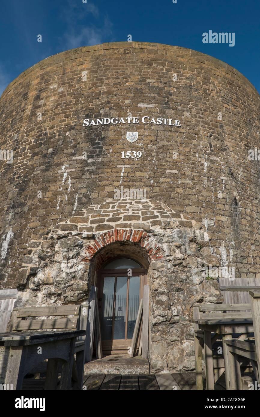 ,Sandgate Castle,Promanade,Sandgate,Seafront,Sandgate,Folkestone,Kent,England,Cycle and Walking Route,Hythe to Folkestone Section,Saxon Shore Way Stock Photo