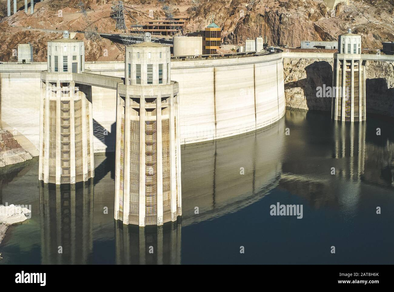 Boulder City, Nevada, United States: July 6 2009: Hoover Dam with Penstock Water Inlet Towers. A Concrete Arch Gravity Dam. Stock Photo
