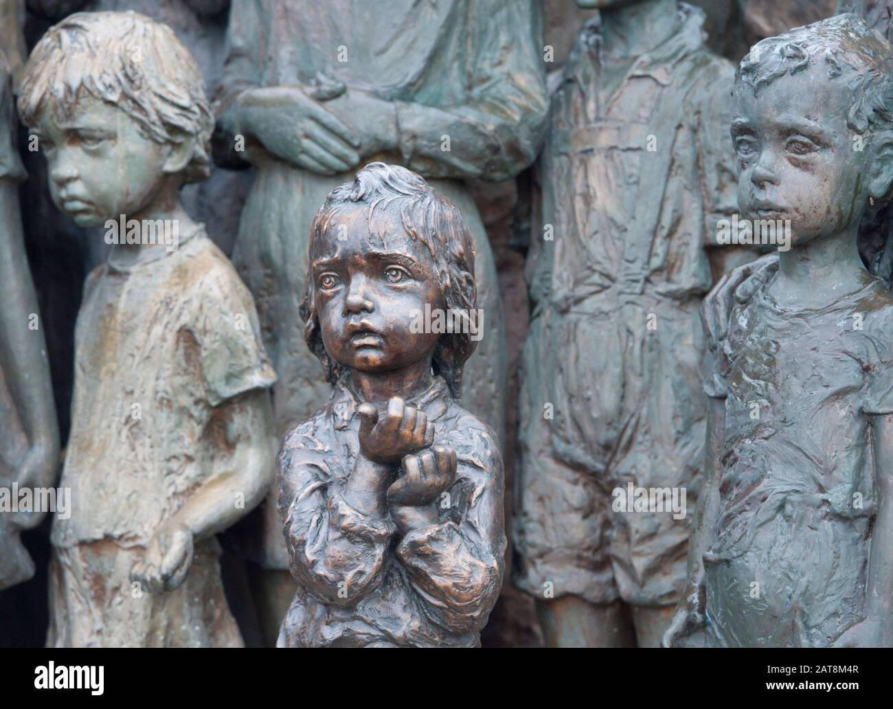 +++FILE PHOTO+++  Newly casted bronze sculpture of a girl was set into Lidice memorial of children victims of the war on January 16, 2011 in Lidice, C Stock Photo