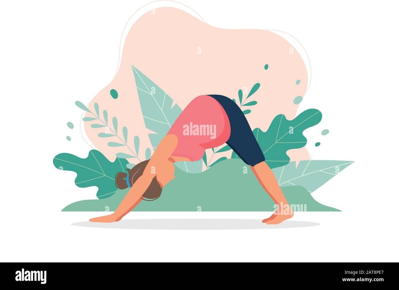Pregnant Woman Doing Prenatal Yoga Pregnancy Health Concept Cute Vector Illustration In Flat Style Stock Vector Image Art Alamy