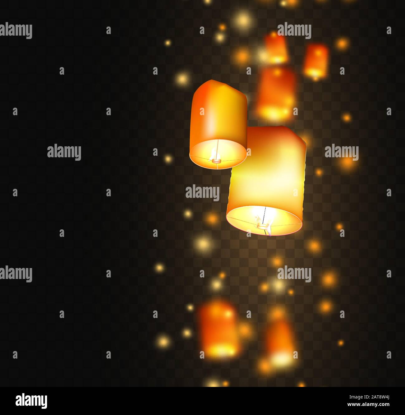 Lanterns Isolated On Transparent Background Happy Diwali Festival Decoration Elements Night Sky Floating Indian Lamps Symbol Victory Of Light Stock Vector Image Art Alamy