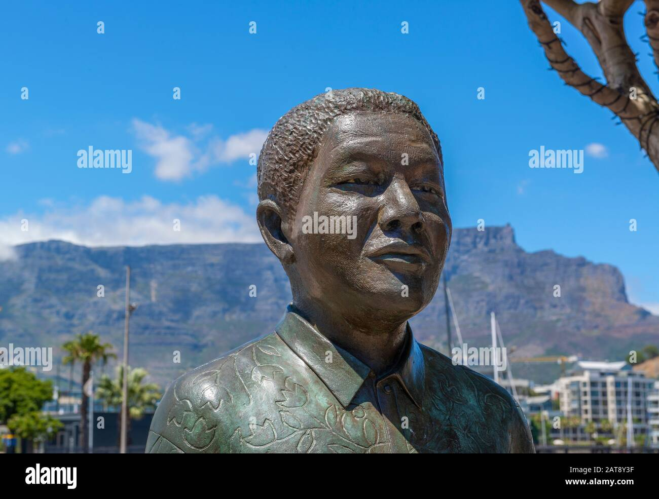 Statue of the late South African President, Nelson Mandela, a Nobel Peace Prize winner at Nobel Square, V&A Waterfront, Cape Town, South Africa Stock Photo
