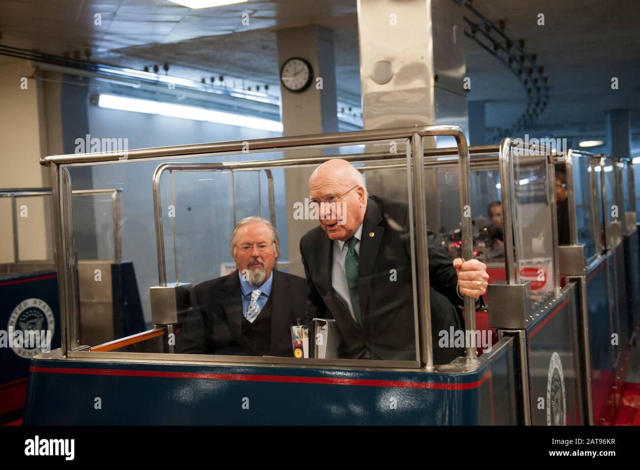 Washington, Dc, United States. 31st Jan, 2020. Senator Patrick Leahy (D-VT) arrives in the Senate subway in the basement of the U.S. Capitol, prior to the Senate impeachment trial of President Donald Trump, in Washington, DC, Friday, January 31, 2020. (Photo by Rod Lamkey Jr./SIPA USA) Credit: Sipa USA/Alamy Live News Stock Photo