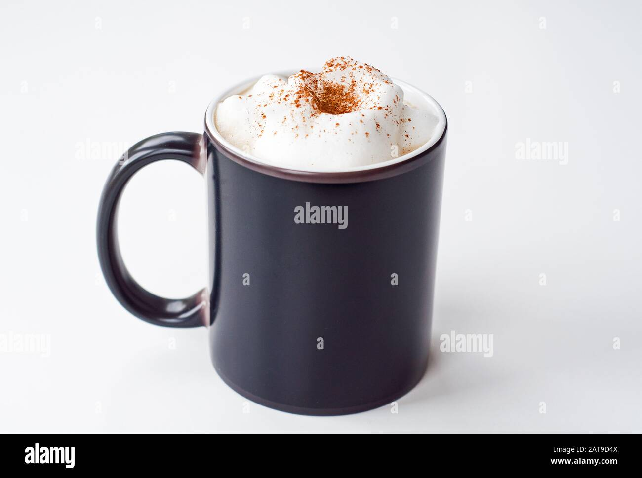 Black Coffee Cup With Milk Foam And Cinnamon On Top Coffee Latte Has Room For Text