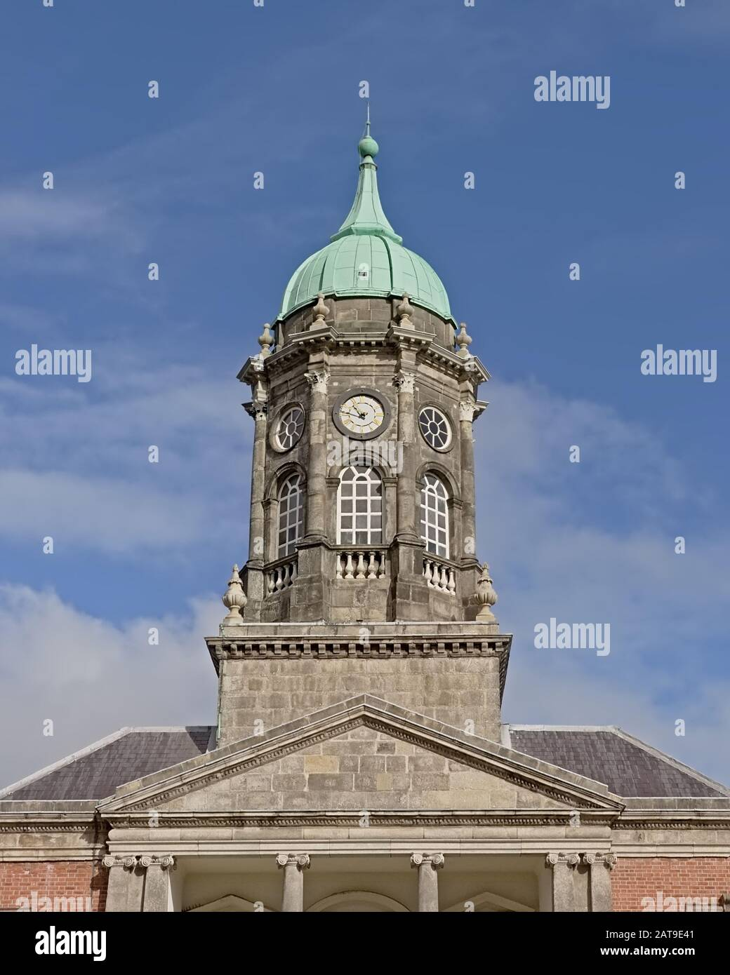 Bedford clock tower in Dublin Castle, Ireland on a sunny day with blue sky Stock Photo