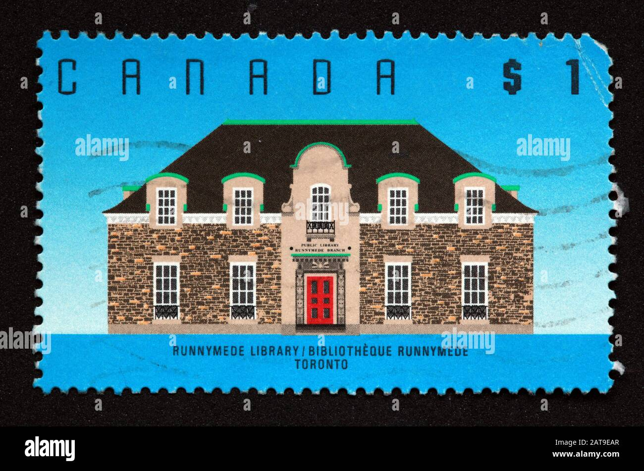 Canadian Stamp, Canada Stamp, Canada Post,used stamp,$1 Runnymede Library, Bibliotheque Runnymede, Toronto stamp Stock Photo