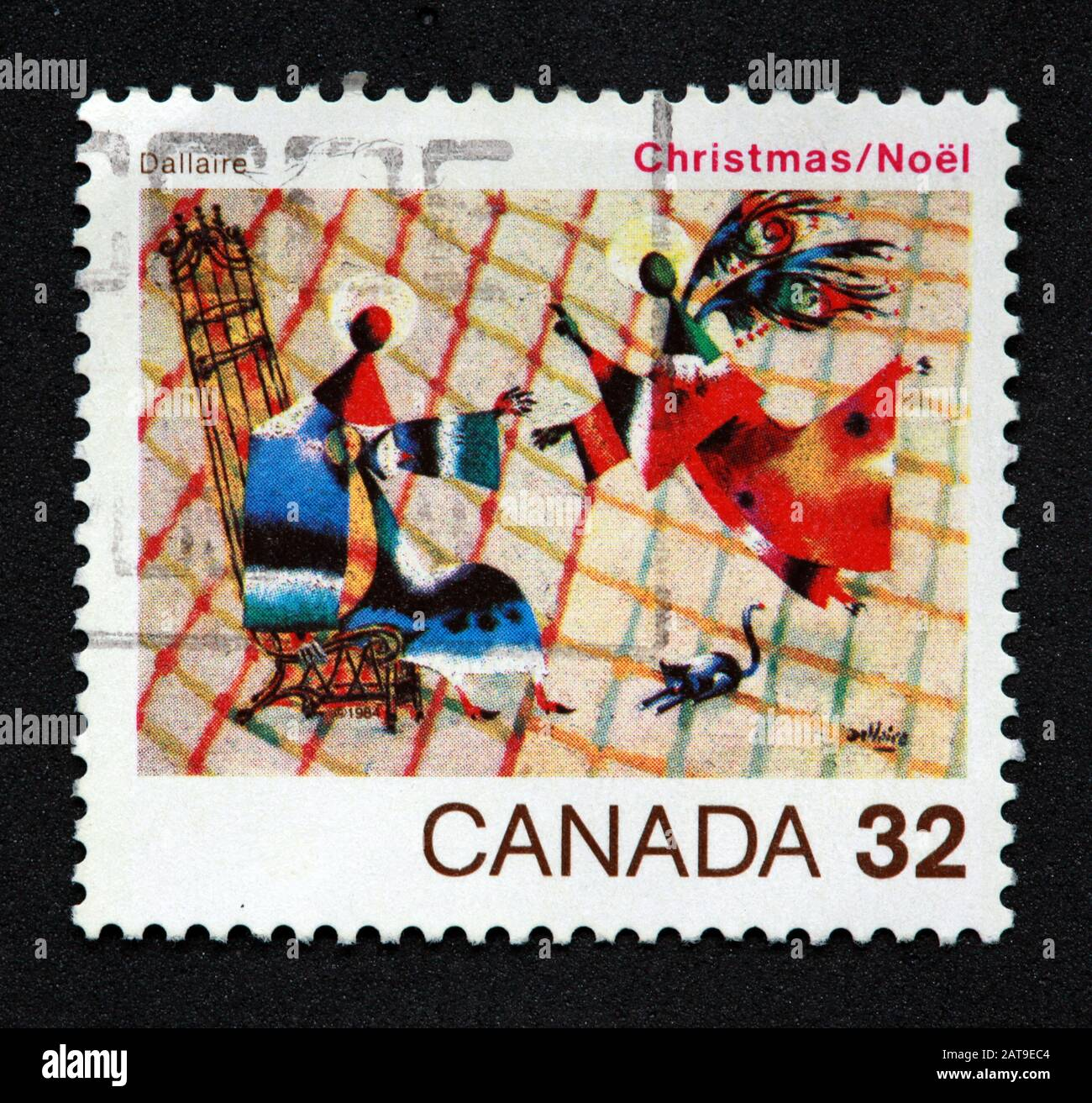Canadian Stamp, Canada Stamp, Canada Post,used stamp, Canada 32c, Christmas , Noel, Dallaire , angels Stock Photo