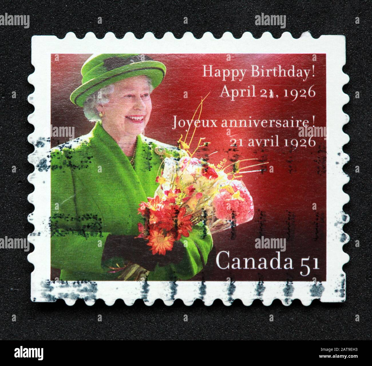 Canadian Stamp, Canada Stamp, Canada Post,used stamp, Canada 51, Happy Birthday Queen Elizabeth, April 21 1926, Joyeux anniversaire Stock Photo
