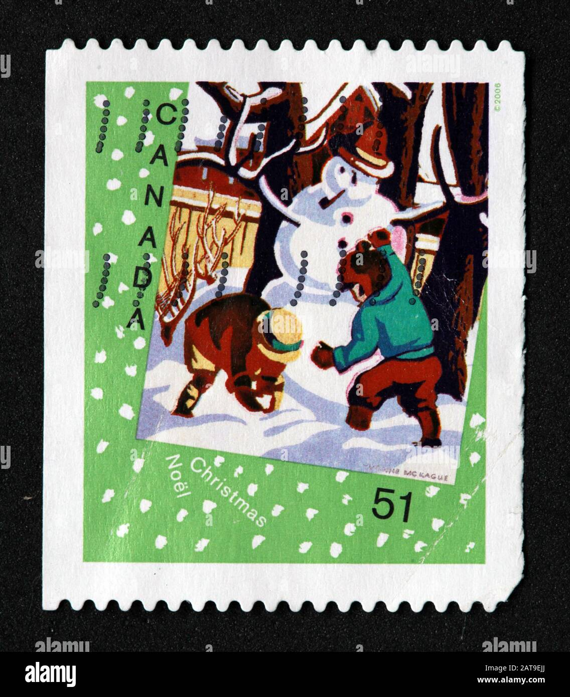 Canadian Stamp, Canada Stamp, Canada Post,used stamp, snowman, 51c 51cent ,Noel, Christmas Stock Photo