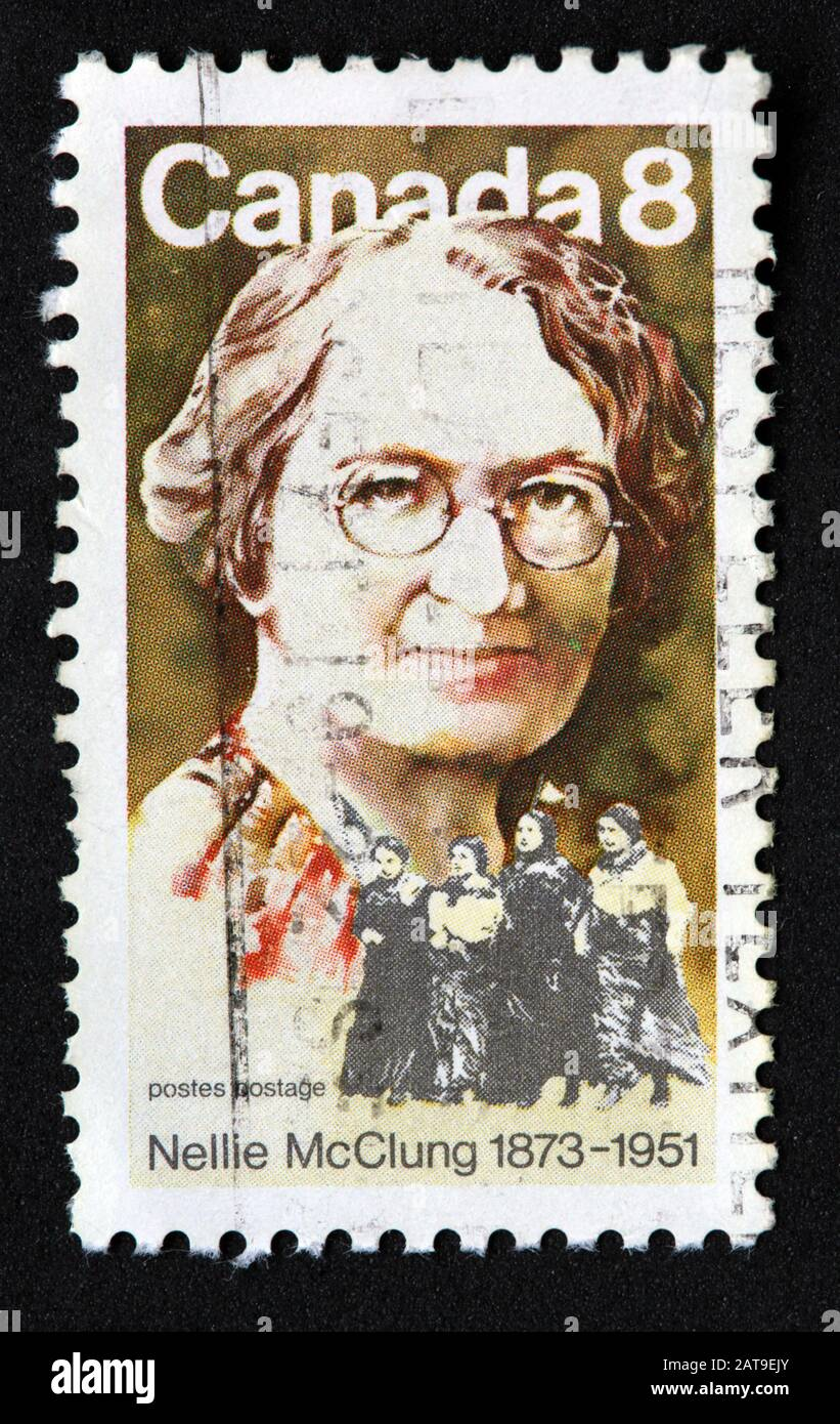 Canadian Stamp, Canada Stamp, Canada Post,used stamp, Canada 8c,8cent, Nellie McClung, 1873-1951 Stock Photo