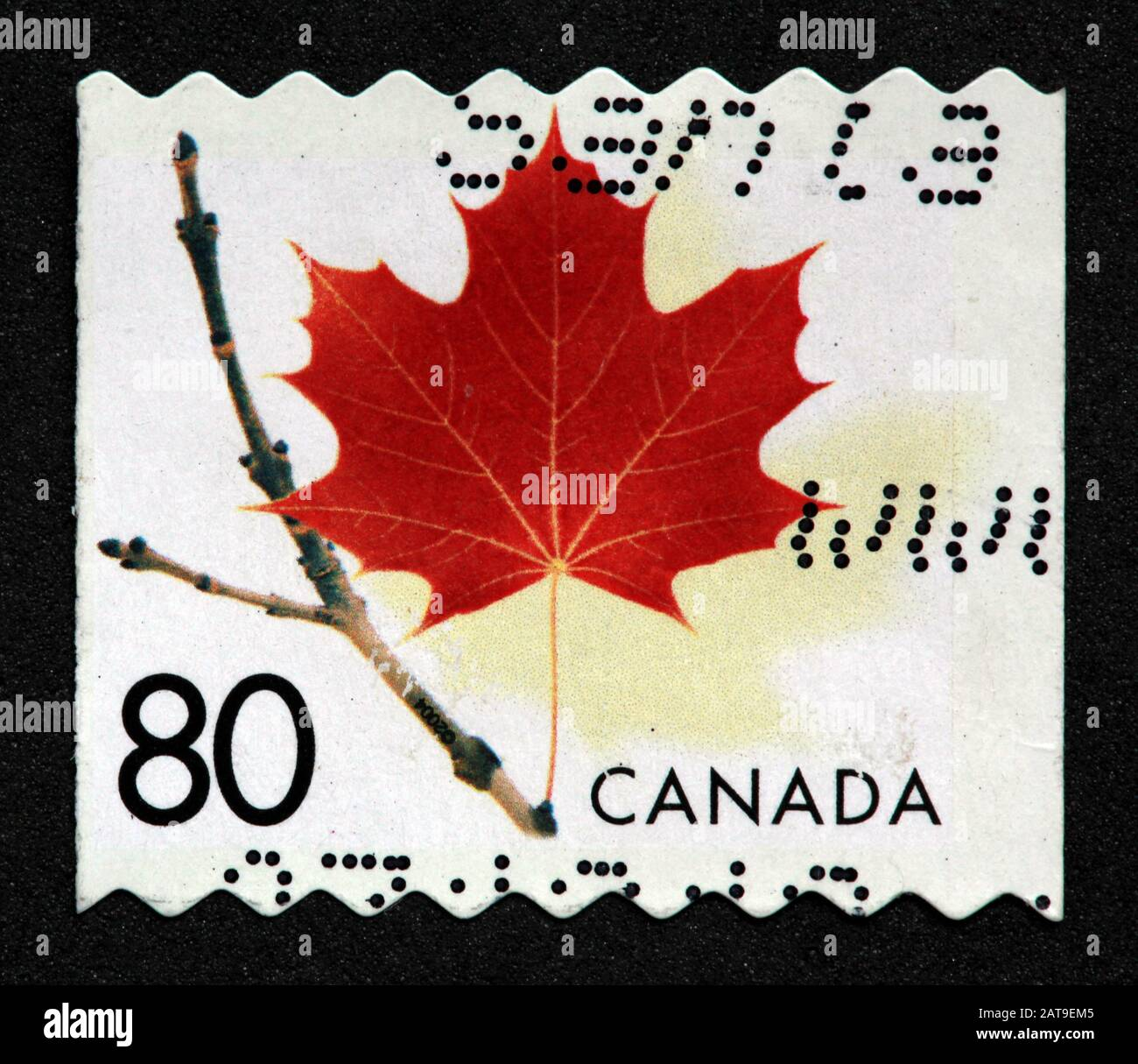 Canadian Stamp, Canada Stamp, Canada Post,used stamp, Canada, Maple Leaf, autumn, 80c, 80cents Stock Photo