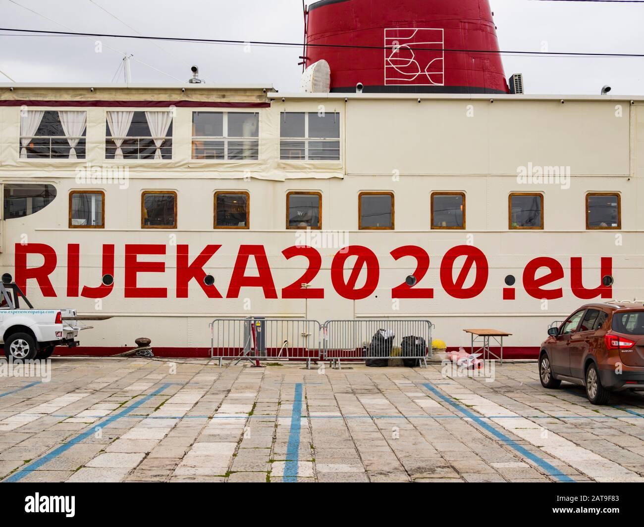 Ship-botel Marina Rijeka 2020.eu European Capital of Culture EPK 2020 Rijeka in Croatia Stock Photo