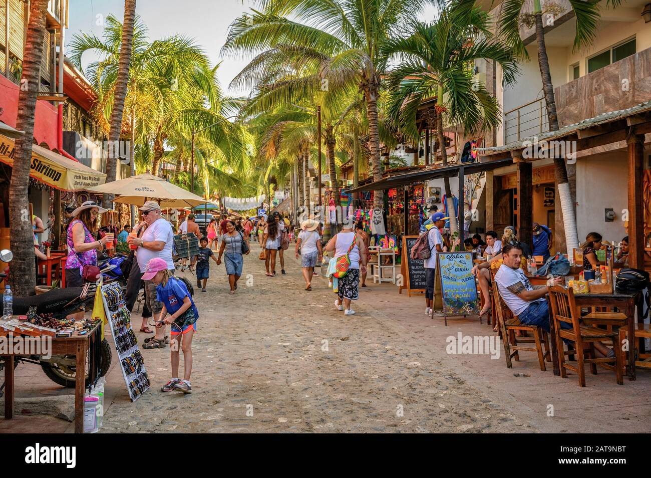 Restaurants and shops in Sayulita, Riviera Nayarit, Mexico. Stock Photo
