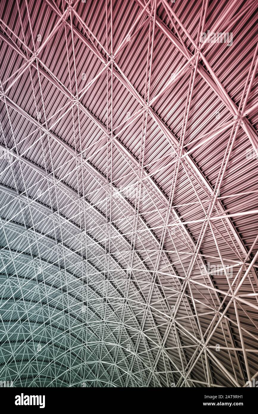 Modern Interior Architecture Of Metal Steel Roof Structure Of Airport Or Industrial Factory Stock Photo Alamy