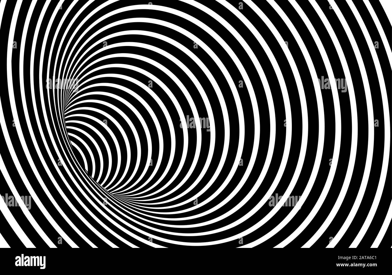 Geometric Black and White Abstract Hypnotic Worm-Hole Tunnel - Optical Illusion - Vector Illusion Optical Art Stock Vector